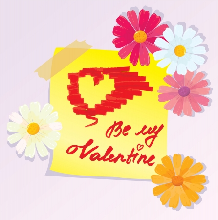 Valentines Day sketch with daisy flowers Vector