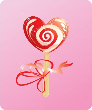 illustration of heart candy -  lollipop - on pink background Vector