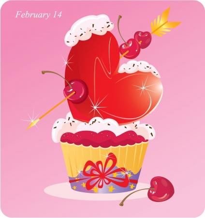tarte aux cerises: Mignon petit g�teau avec le coeur, la fl�che et cerise Valentines Card