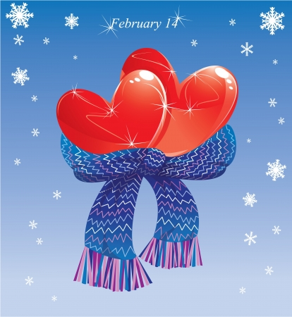 Two hearts conjuncted of warm scarf  Valentines Card Vector