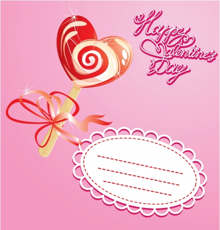 Valentines Day Card with heart candy -  lollipop - on pink background Vector