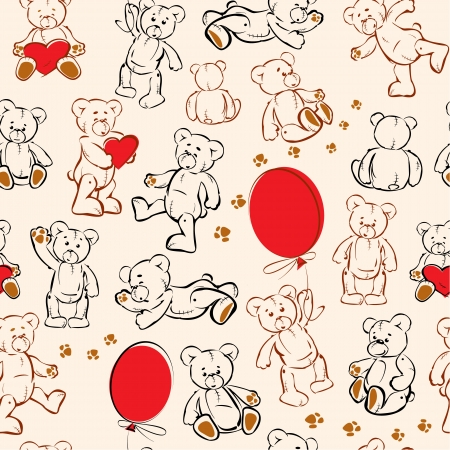 Seamless texture with teddy bears, hearts and balloons Vector