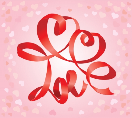 Valentine s Day card with hearts and word LOVE is made by red ribbon Stock Vector - 16656639