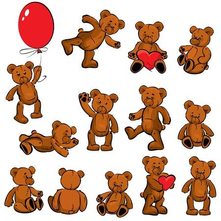 teddy bear: Conjunto de antiguos juguetes de peluche - oso de peluche Vectores