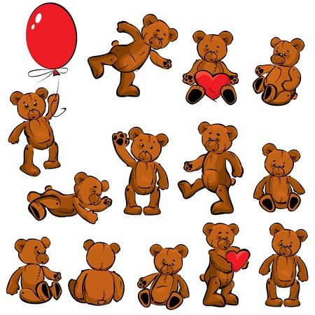 Set of  vintage soft toys - teddy bears Vector