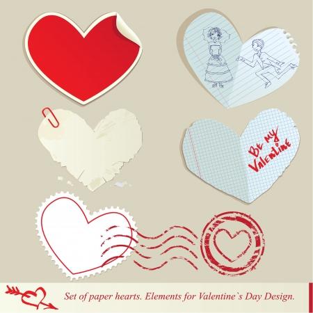 papel scrapbook: Conjunto de corazones de papel Elementos para el Dise�o D�a de San Valent�n s Vectores