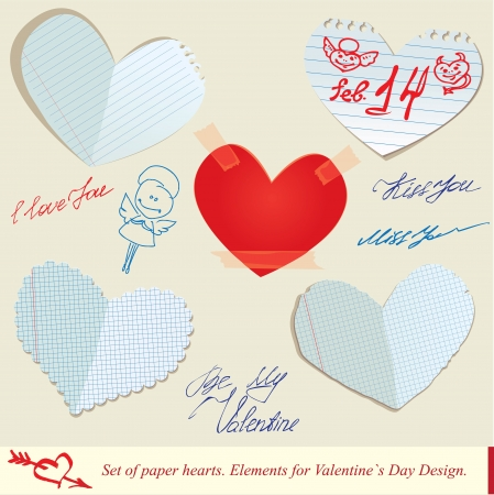 Set of paper hearts  Elements for Valentines Day Design Vector