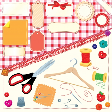 Collection of labels, sewing and knitting tools
