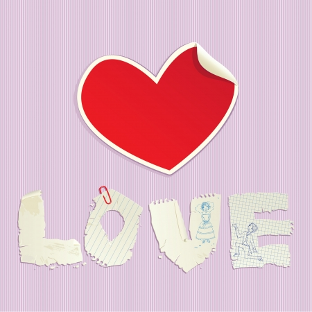 Valentine s Day scrapbooking elements � paper vintage heart and word LOVE Vector
