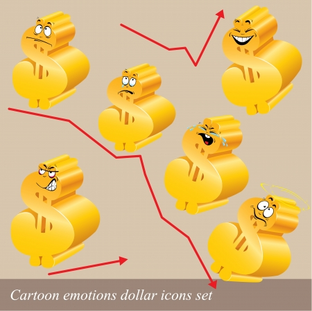Cartoon emotions dollar icon set Vector