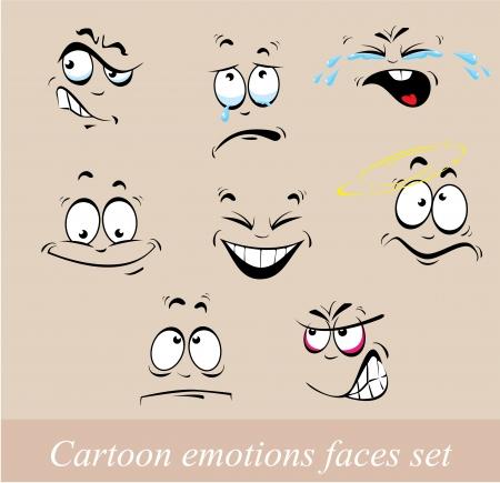 Cartoon emotions faces set Illustration