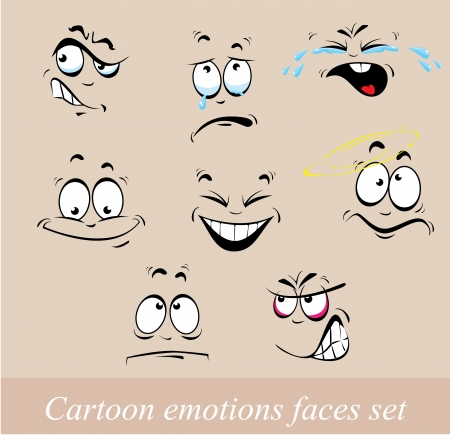 emotions faces: Cartoon emotions faces set Illustration