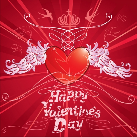 heart with crown: Heart and wings,abstract background for Valentine s Day design