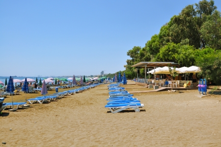 Chairs on the beach, Cyprus Stock Photo - 17298007