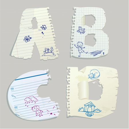 English alphabet - letters are made of old paper - letters A, B, C, D Vector