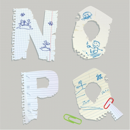 English alphabet - letters are made of old paper - letters N, O, P, Q Vector
