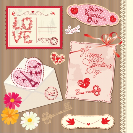 Set of Vintage Valentine Vector