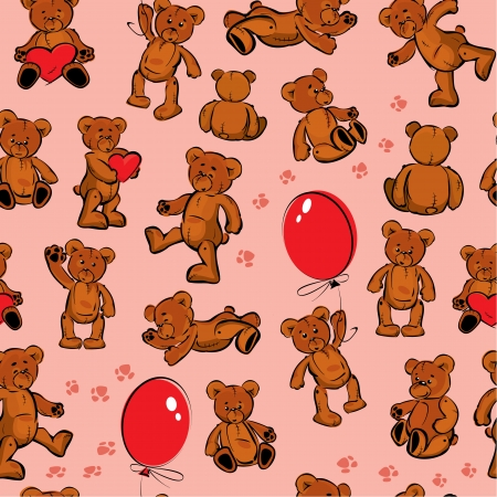 balloons teddy bear: Seamless texture with teddy bears, hearts and balloons on pink background Illustration