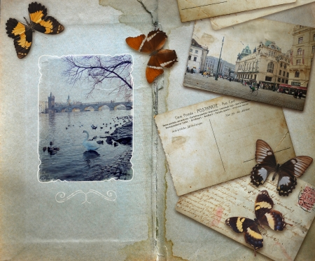 vintage background with blank space for your text, butterflies and post card with Prague view