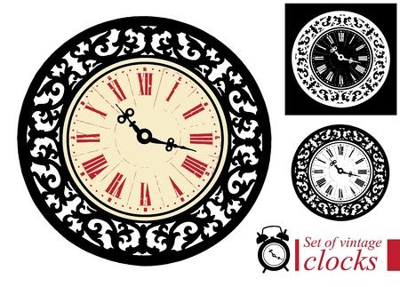 Set of vintage clocks Vectores