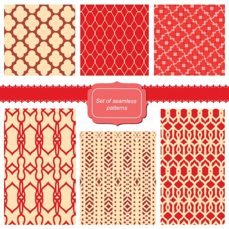 set of fabric textures with different lattices - seamless patterns Vector