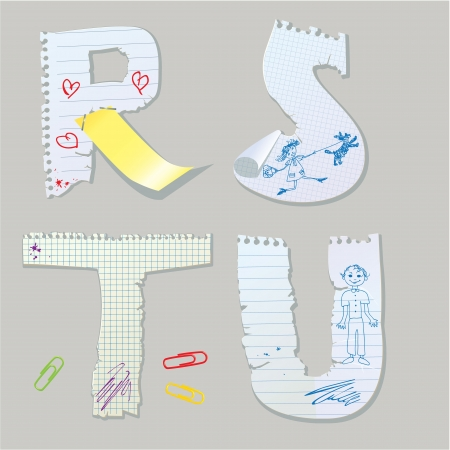 English alphabet - letters are made of old paper - letters R, S, T, U Vector