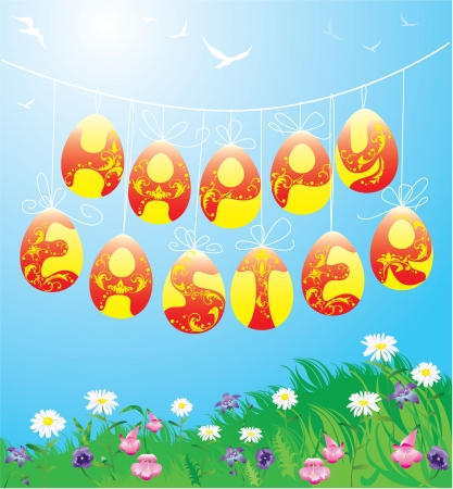 Hanging Easter eggs on spring blue sky background  Stock Vector - 17594451