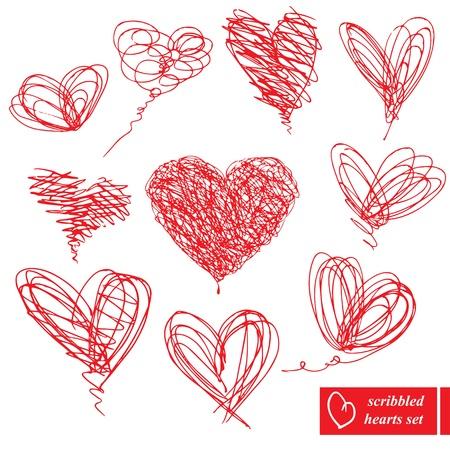 cuore in mano: Set di 10 scarabocchiato disegnati a mano schizzo cuori per San Valentino Day design