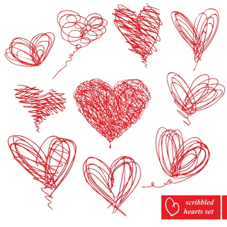 written: Set of 10 scribbled hand-drawn sketch hearts for Valentines Day design