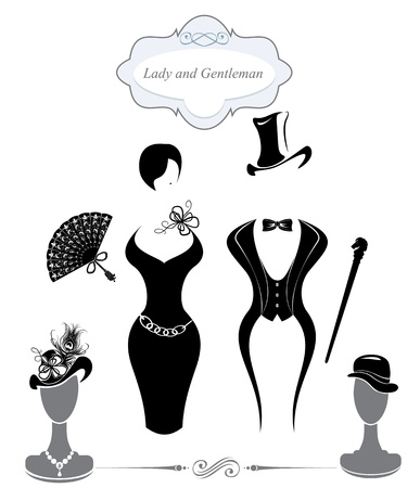victorian lady: Gentleman and Lady symbols, vintage style, black and white silhouette   Illustration