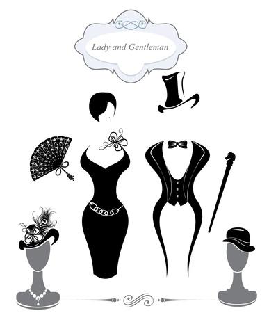 femme dessin: Symboles monsieur et une dame, style vintage, silhouette en noir et blanc Illustration