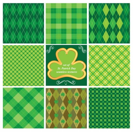 shamrock seamless: Set of green seamlesspatterns for St  Patrick