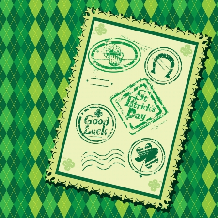 Set of Green grunge rubber stamps with Beer mug, shamrock,  horseshoe and texts St  Patrick Vector