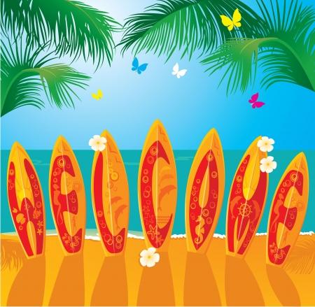 hawaiana: Tarjeta de verano Vacaciones - tablas de surf con dibujados a mano texto de bienvenida Vectores