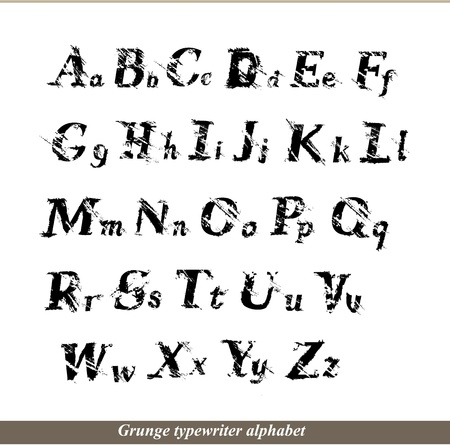 English alphabet - grunge typewritter letters