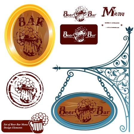 oval  alcohol: Set of different beer bar menu design elements