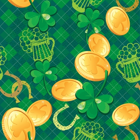 Seamless Saint Patrick day pattern  Shamrock and golden coins on checkered background Vector