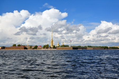 View of Saint Petersburg from Neva river. The Peter and Paul Fortress, St.Petersburg, Russia Stock Photo - 17970791