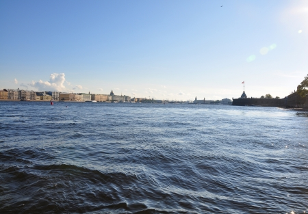 Panoramic view of Saint Petersburg from Neva river. St.Petersburg, Russia photo