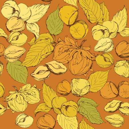 Seamless pattern with highly detailed hand drawn hazelnuts on brown background Vector