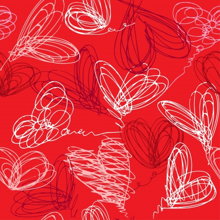 Seamless pattern with hand drawn scribble hearts on red background  Valentines Day Background Design Stock Vector - 18081513