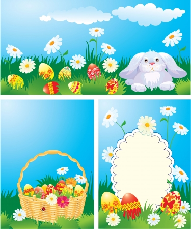 Set of color Easter banners  Easter bunny, basket and eggs in grass Stock Vector - 18123926