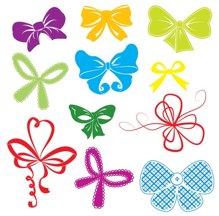 Set of different colors bows Stock Vector - 18175964