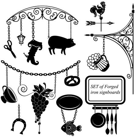 caballo bebe: Conjunto de diferentes juntas forman signo de metal para restaurante, bar, cafetería o tienda Vectores