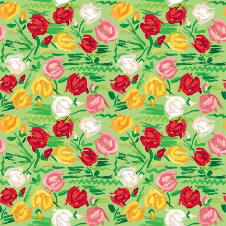 color swatch: Hand painted roses seamless pattern in pink, red, white and yellow tones on green background
