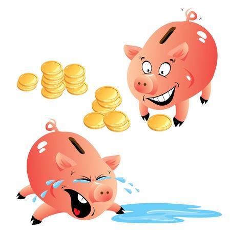 Set of emotions cartoons piggy bank and money