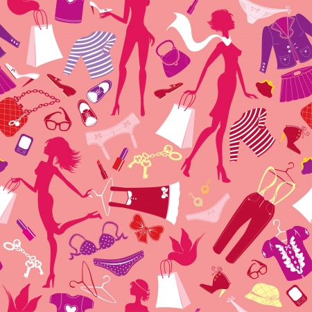 mall shopping: Seamless pattern in pink colours - Silhouettes of fashionable girls with colorful glamor clothes and accessories