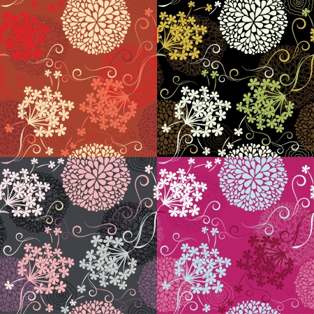 Set of Seamless patterns - floral backgrounds Vector