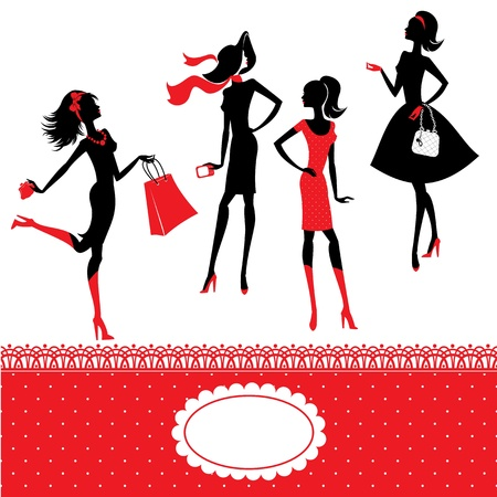 Set of silhouettes of fashionable girls on a white background  Stock Vector - 18521168
