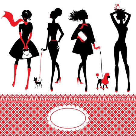 nude pretty girl: Set of silhouettes of fashionable girls on a white background